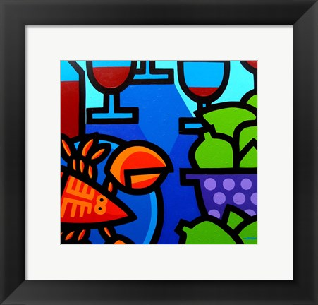 Framed Lobster Wine And Limes Print