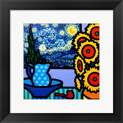 Framed Still Life With Starry Night Print