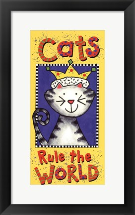Framed Cats Rule The World Print