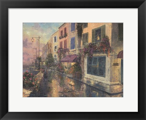 Framed Twilight By The Sea Print