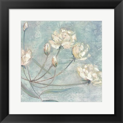 Framed Blossoms In Blue I Print