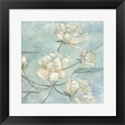 Framed Blossoms In Blue II Print