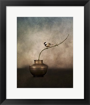 Framed Black Capped Chickadee On A Vase Print