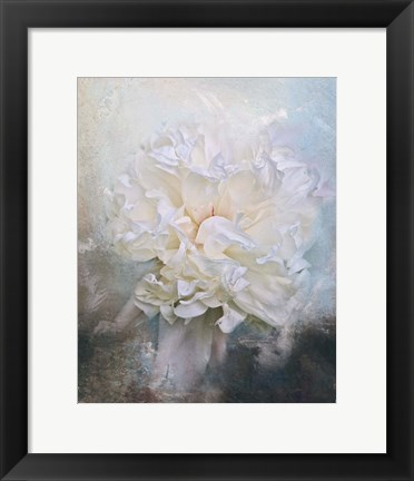 Framed Abstract Peony In Blue Print
