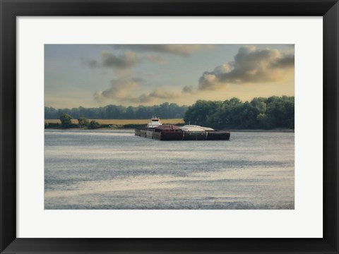 Framed Barge On The River 1 Print