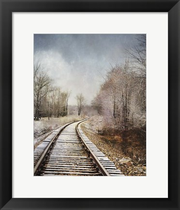 Framed Snow On The Tracks Print