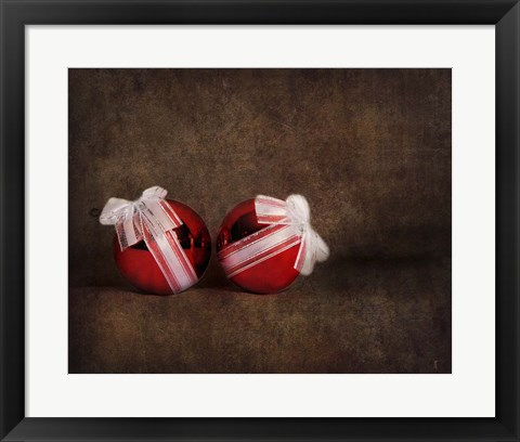 Framed Two Red Ornaments Still Life Print