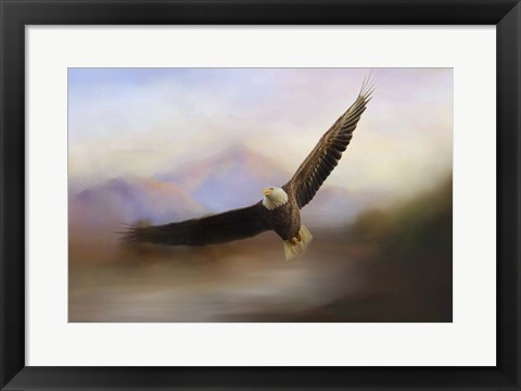 Framed Eagle At The Mountain Print