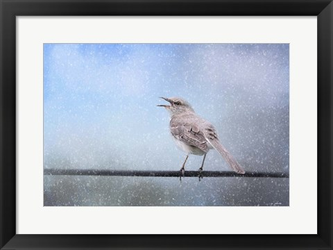Framed Mockingbird In The Snow Print