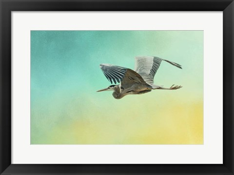 Framed Heron At Sea Print