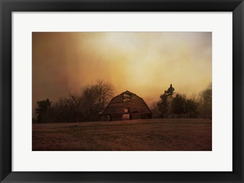 Framed Old Barn On A Fall Evening Print