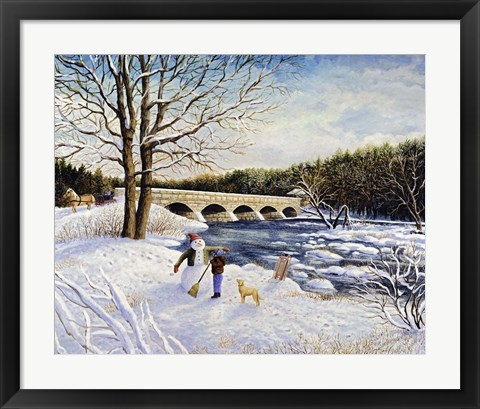 Framed Pakenham Bridge Winter Print