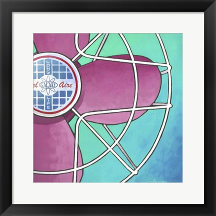 Framed Bel-Aire Fan - Pink on Turquoise Print