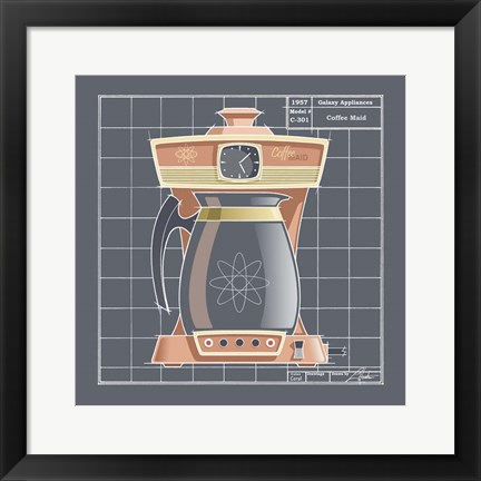 Framed Galaxy Coffeemaid - Coral Print