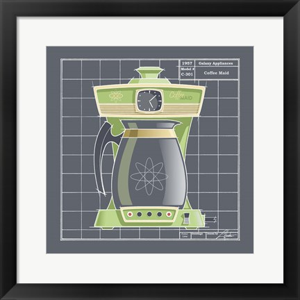 Framed Galaxy Coffeemaid - Lime Print