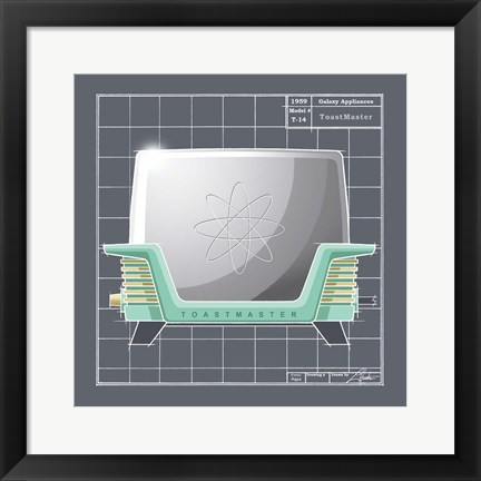 Framed Galaxy Toaster - Aqua Print