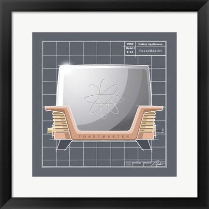 Framed Galaxy Toaster - Coral Print