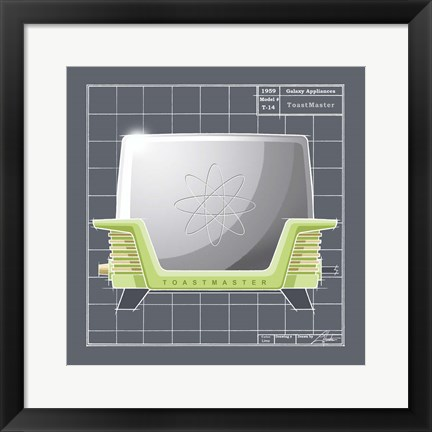 Framed Galaxy Toaster - Lime Print