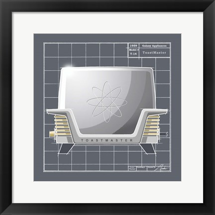 Framed Galaxy Toaster - Pewter Print