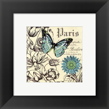 Framed French Butterflies Turquoise Print