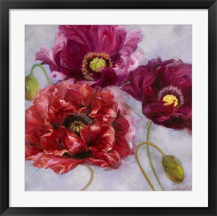 Framed Purple Poppies II Print