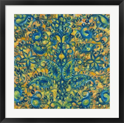 Framed Blue and Orange Swirls Print