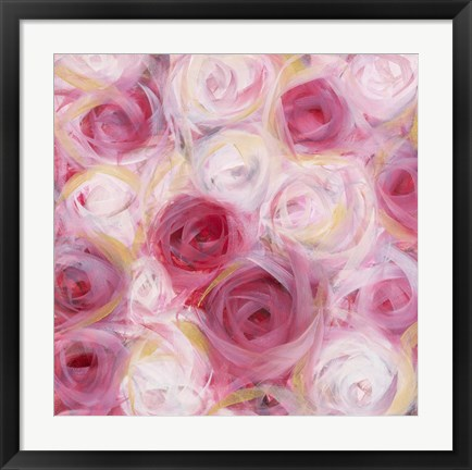 Framed White and Pink Roses Print