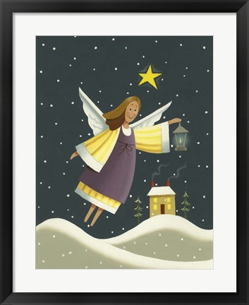 Framed Angel with a Lantern Print