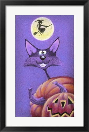 Framed Cat & Pumpkins Print