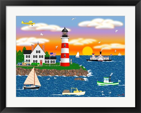 Framed Triangle Point Lighthouse Print