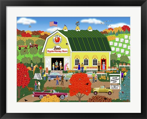 Framed Bee's Apple Honey Barn Print