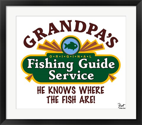 Framed Grandpa's Fishing Guide Service Print