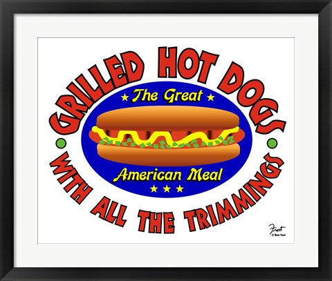 Framed Grilled Hot Dogs Print