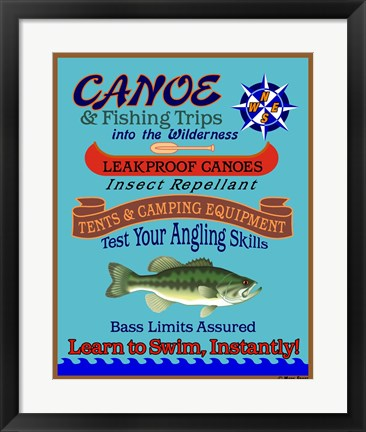 Framed Canoe Fishing Wilderness Print