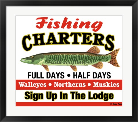 Framed Fishing Charters Print