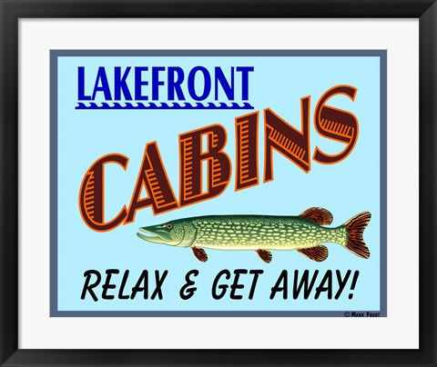 Framed Lake Front Cabins Print