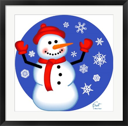 Framed Red Cap Snowman Print