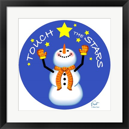 Framed Snowman Touch The Stars Print