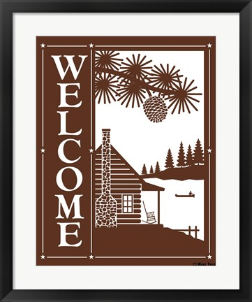 Framed Welcome Log Cabin Print
