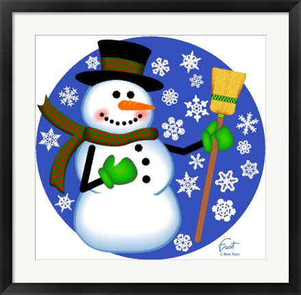 Framed Snowman Broom Print