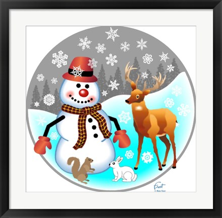 Framed Snowman Forest Animals Print