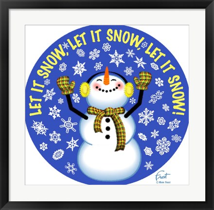Framed Snowman Let It Snow Print