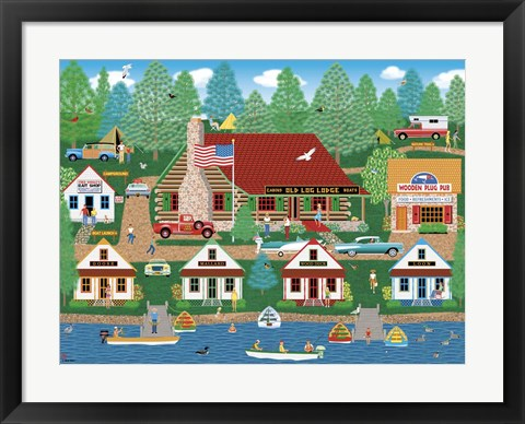 Framed Old Log Lodge Print