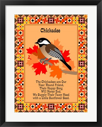Framed Chicadee Quilt Print