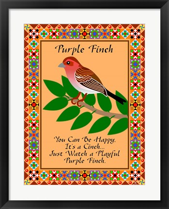 Framed Purple Finch Quilt Print
