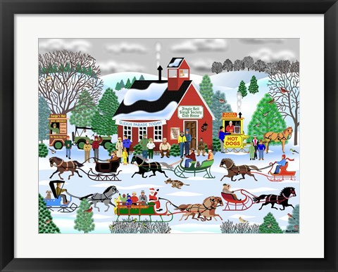 Framed Jingle Bell Sleigh Society Print