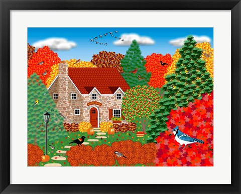 Framed Stone Cottage Autumn Print