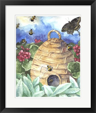 Framed Bee And Flower Print