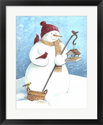 Framed Snowman Red Hat Print