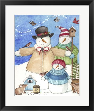Framed Happy Holiday Snow Print